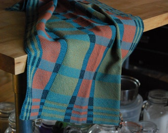 Kitchen Towel Handwoven Retro Blocks- Art Deco Turquoise