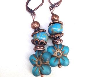 Aqua flower Earrings Boho Earrings Bohemian Jewelry  Boho Hippie Earrings  Yoga Earrings