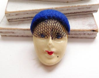 Vintage Hand Painted White Woman Face Blue Netted Veiled Hat Brooch Pin W32