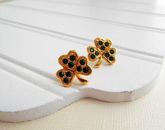 Vintage Avon Green Rhinestone Gold Shamrock St. Patrick's Day Earrings ZZ18