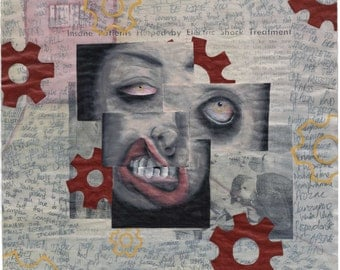 COG-Eyed - Original ICONIC Art - Horror - Creepy - Cogs and Gears - Weird Painting