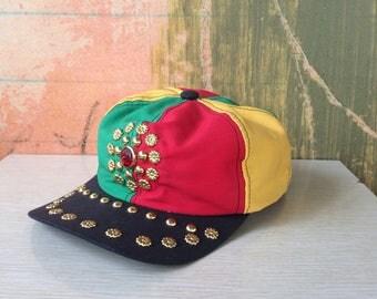 Reggae Baseball Hat • Vintage 90s Bejeweled Cap • Dance Crew Hat • Jamaican Hat • Rasta Hat • Rhinestone Baseball Hat • Snapback Hat