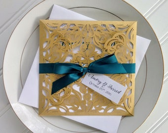 Gold and Teal Laser Cut Wedding Invitations. Pocket Style Wedding Invitation. Teal Wedding. Teal and Gold Lasercut. Gold Wedding.