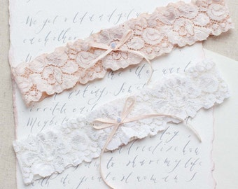 Something Blue Wedding Garter in Blush Pink, Ivory or Nude Stretch Lace - Perfect Bridal Garter Belt to finish a slim wedding dress