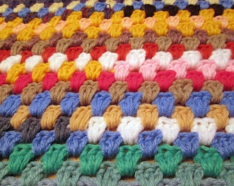 Multi colored crazy-square Hand crochet lap afghan 36""