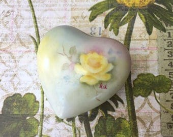 Sweet Vintage Hand Painted Porcelain Heart Shaped Trinket Box with Yellow Rose
