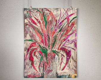 """Plant Study 0002 PAINTING on CANVAS SHEET 12"""" x 16"""", Snake Plant, Sansevieria, Multi Color Leaves, Cream Background"""