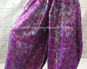 Purple floral brocade harem pants, pantaloons, bloomers, ATS, ITS, belly dance