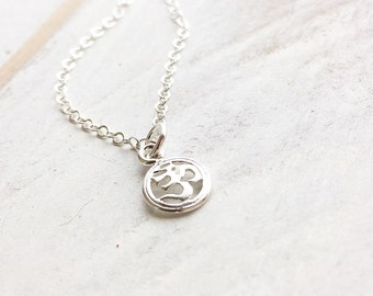 Sterling Silver Ohm Necklace, Tiny Ohm Yoga Necklace, OM necklace, Dainty Ohm Necklace, Sterling Silver Ohm Pendant Necklace, Everyday Wear