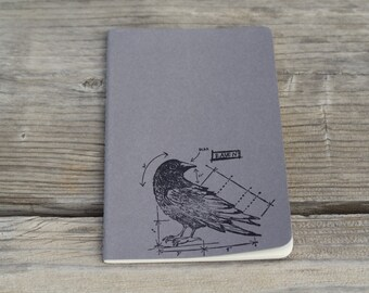 Black Raven Lined Journal Notebook Diary
