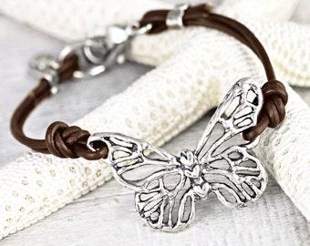 Butterfly Dreams Bracelet -  Butterfly Jewelry - Handmade Jewelry - Leather Bracelet - B495
