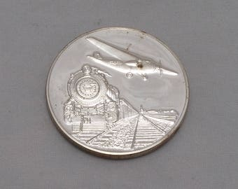 1969 Sterling Silver Round, TWA Commemorative Coin of 40th Anniversary of the First Trans-Continental Rail-Air Service, Exonumia, Silver