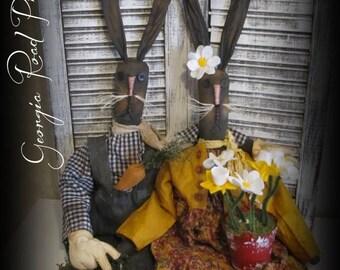 Primitive Easter Bunnies~ The O'hares~Folk Art Rabbit dolls~Handmade Decor