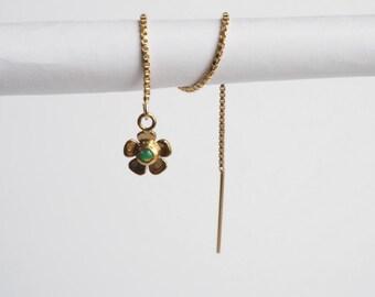 Single Gems Green Opal flower Ear Chain / Gold Threader Earrings/Chain Earrings - Single (Limited number of items)