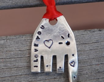 I LOVE You hand stamped ELEPHANT ORNAMENT with Hearts and Eyelashes Red  ribbon made from Recycled Fork