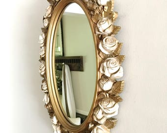 Vintage Rose Mirror Gold Cream Large Ornate Shabby Chic