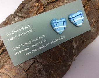 Scottish jewellery - tartan studs - Scottish gift - heart stud earrings