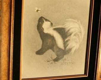 Baby Skunk Oil Painting, Harris, Bee, 1982, Nursery, Black and White, Kid's Room, 1980s Art, Animal Lover, Double Trouble