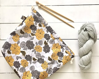 knitting project drawstring bag - large - golden flowers