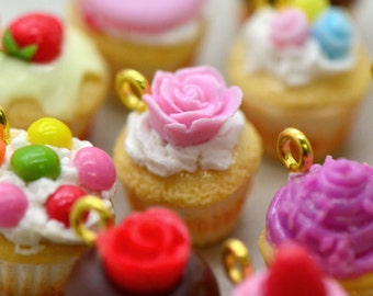Tiny Cupcake Charm Hand-Made Clay Cupcake Miniature Dessert, Pick Your Flavor, Miniature Cupcake Pendant Jewelry Making Charm ()