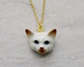 Hand Painted Porcelain Cat Head Necklace, 18 Inch Gold Chain, Ceramic Animal Pendant - CHRISTMAS SALE