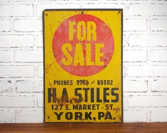 Vintage Tin Industrial Sign, Original Bold Yellow and Red Colors, For Sale Letting, National Sign Co, Art Deco Pop Art, York PA, 14x20 Flat