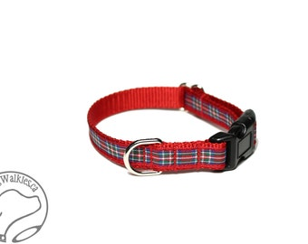 "Royal Stewart Tartan Small Dog Collar - Thin Dog Collar - 1/2"" (12mm) Wide - Navy Blue Plaid - Choice of style and size"