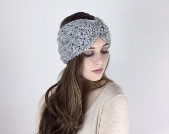 Winter Headband Turban Style Earwarmer The Trillium Bow Headwrap  in Gray Marble