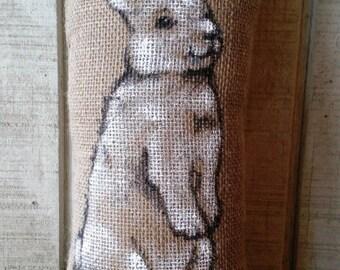 Hand-drawn Bunny Pillow- Rabbit Pillow-Bunnies-Burlap Pillows- Easter Gift- Easter Pillow- Bunny Pillow- Baby Shower Gift- Nursery Pillow