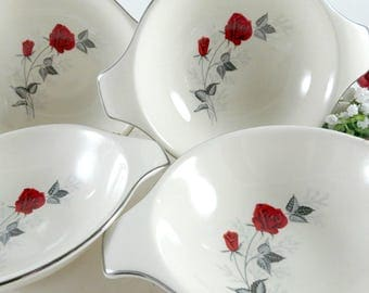 4 Mid Century Lugged Soup Bowls by Taylor Smith & Taylor, 1950s Vintage China, Moulin Rouge Pattern, Versatile Shape, Red Rose, Silver Trim