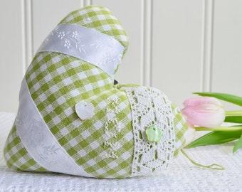 Cottage chic bedpost fabric heart , handmade Swedish  ,  green white doorhanger , green valentine heart