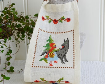 Wallhanging embroidered childrens fairy tales, vintage Swedish cross stitched linen, kids room decor
