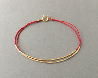 Double Strand Gold Fill Silk String Bracelet also available in Sterling Silver