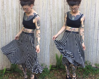 Vintage Silk Polka Dot Pleated Maxi Skirt xs 24 25