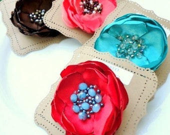 PICK 1 Large Silk Fabric Flower Brooch, Summer Floral Brooches, Beaded Broach Red Pin on Flower for Dress, Coral, Blue, Turquoise Beads