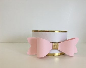 Set of 2 Bow Paper Bow    Bow Gift Topper   Pink and Gold Bows    Favor Box Decor    Gift Wrap    Paper Bows   
