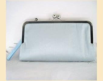 Wedding clutch bag, wristlet, blue silk, blue purse, silk bridal purse, bridesmaids clutch, personalised bridal purse