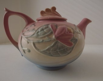 Hull Art Pottery, Pink Magnolia Matte Pastel Tea Pot, Made In USA 23 6 1/2, Embossed Florals, Art Deco Lid, Circa 1940's