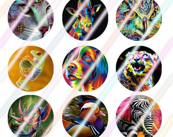"Colorful Life 1"" Bottle Cap Image 4x6 Digital Collage Sheet Instant Download"