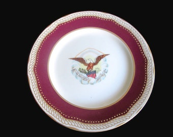 Abraham Lincoln White House China by Woodmere Dessert Plate Never Used Box with Certificate