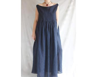 Linen Pleats Dress Off Shoulders Kaftan Long Dress Blue Linen Dress Scoop Neckline Dress Oversized Maxi Dress Plus Size Dress Floor Length