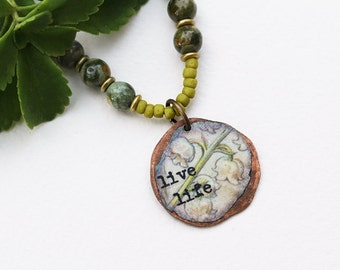 Live Life, Mixed Media Necklace, Lily of the Valley, Mixed Media Jewelry, Green Bead Necklace, Botanical, Gemstone, Pendant Necklace
