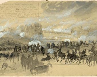 Civil War Drawing Reproductions - The Battle at White Swamp Oak Bridge, June 1862  by Alfred Waud  - Fine Art Print Reproduction