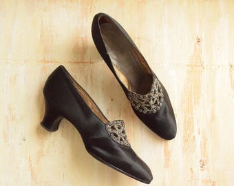 Vintage 1920's Black Silk Pumps with Metal Bead Embroidered Buckles