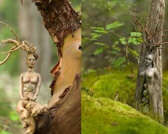 Goddess Journal - Spirit Tree Woman with Stones and Meditation