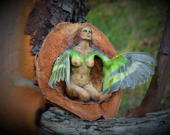 RESERVED for Randy, March 1 of 3, Our Hours In Love Have Wings, Winged Bird Woman, By ShapingSpirit, Debra Bernier