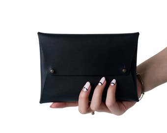 Leather Envelope Clutch | Size: Party, Black