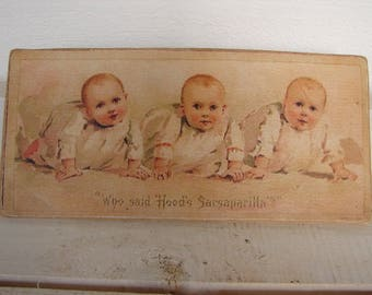 vintage advertising image on wood, Hood's Sarsaparilla, Victorian babies print,shabby chic baby sign