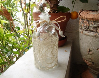 small glass bottle with stopper, French vintage lace, heart & string bow, small wedding gift idea