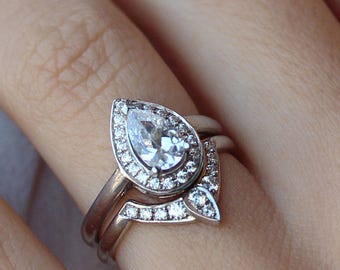 Halo Pear Diamond Engagement Ring + Matching Diamond Wedding Ring - Briadal Set; Halo Diamond Ring With Matching Side Band, 14K Gold